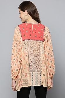 Ecru Printed & Embroidered Kurta by Ritu Kumar