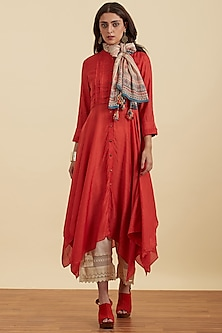 Rust Orange Asymmetric Kurta With Scarf by Ritu Kumar