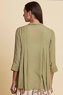 Khaki Green Embroidered Short Kurta by Ritu Kumar