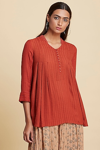 Rust Orange Embroidered Short Kurta by Ritu Kumar