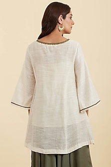 Ivory Embroidered Kurta by Ritu Kumar