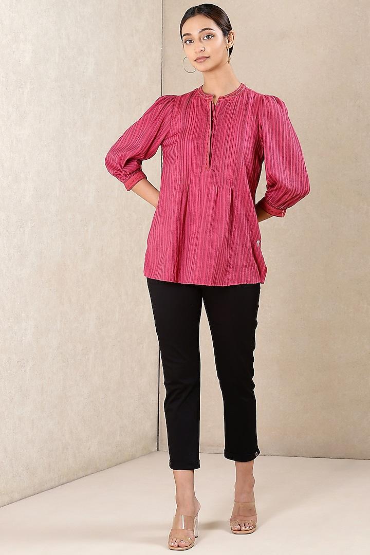 Black Cotton Straight Pants by Ritu Kumar