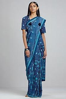 Blue Geometric Printed Saree by Ritu Kumar