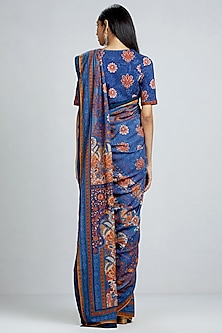 Blue Floral Printed Saree by Ritu Kumar