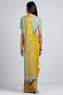 Yellow Floral Printed Saree by Ritu Kumar