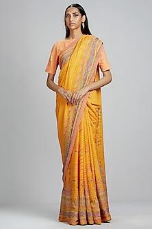 Yellow Abstract Printed Saree by Ritu Kumar