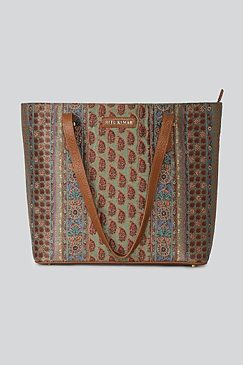 Tan Printed Tote Bag by Ritu Kumar