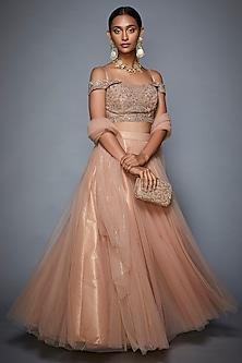 Pastel Pink Embroidered Lehenga Set by Ri Ritu Kumar