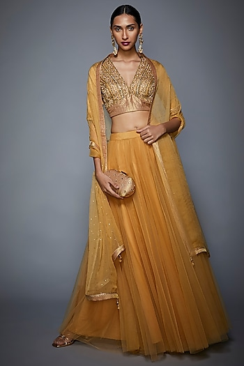 Golden Embroidered Lehenga Set by Ri Ritu Kumar