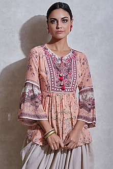 Pink Floral Printed Kurta by Ritu Kumar