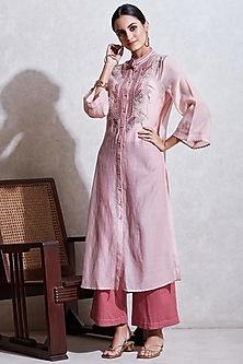 Blush Pink Embroidered Kurta Set by Ritu Kumar