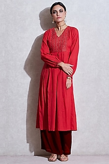 Red Viscose Embroidered Kurta by Ritu Kumar