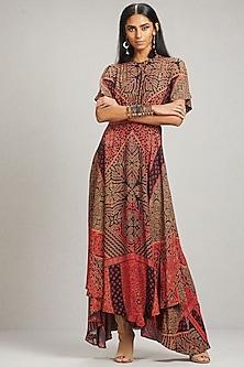 Red Printed Kaftan Dress by Ritu Kumar
