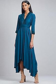 Peacock Blue Asymmetrical Dress by Ritu Kumar