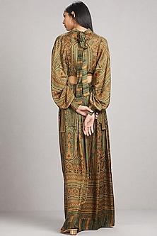 Olive Green Kurta Dress With Self Tie by Ritu Kumar