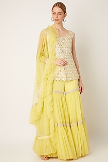 Lime Yellow Embroidered Sharara Set by Ritika Mirchandani