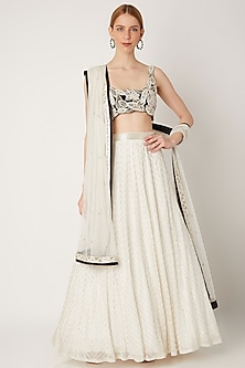 Black & White Embroidered Lehenga Set by Ritika Mirchandani