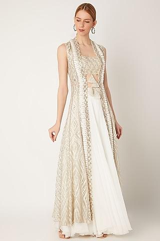 White Embroidered Skirt Set by Ritika Mirchandani