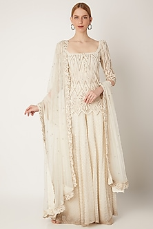 Off White Embroidered Sharara Set by Ritika Mirchandani