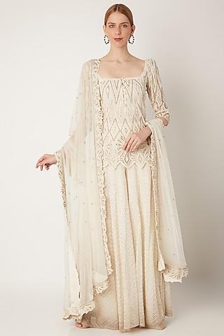Off White Embroidered Sharara Set by Ritika Mirchandani