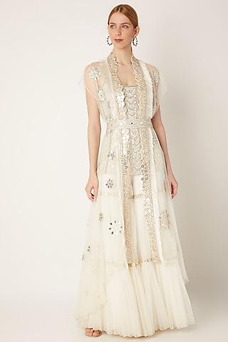 White Embroidered Sharara Set With Belt by Ritika Mirchandani