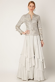 Grey Embroidered Jacket With Tiered Skirt by Ritika Mirchandani