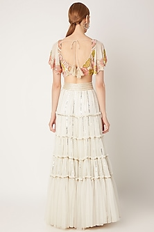 White Embroidered Blouse With Tiered Skirt by Ritika Mirchandani