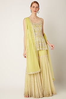 Lime Green Embroidered Sharara Set by Ritika Mirchandani