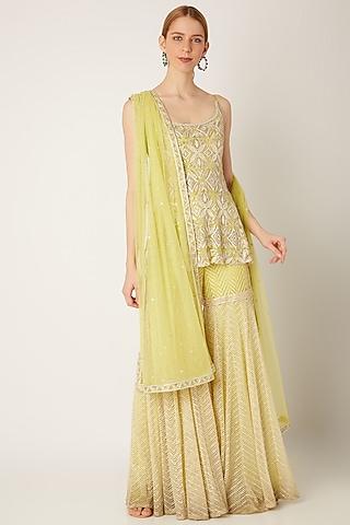 Lime Green Embroidered Sharara Set by Ritika Mirchandani