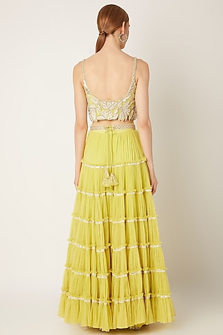 Lime Green Embroidered Crop Top With Tiered Skirt by Ritika Mirchandani