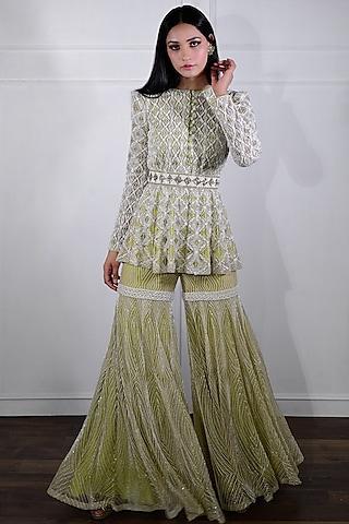 Ivory & Jade Green Hand Embroidered Sharara Set by Ritika Mirchandani