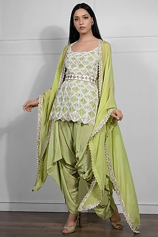 Ivory & Jade Green Hand Embroidered Kurta Set With Cape by Ritika Mirchandani