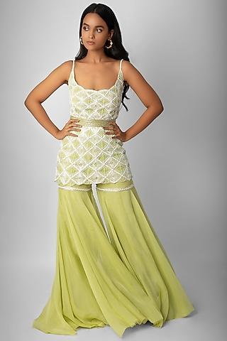 Jade Green Embroidered Kurta Set With Belt by Ritika Mirchandani