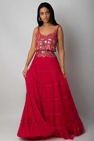 Fuchsia Pink Embroidered Ruffled Skirt Set With Belt by Ritika Mirchandani