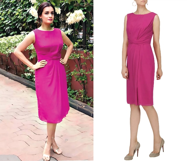 Magenta Pink Knee Length Drape Dress by Ritika Bharwani