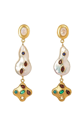 Gold Plated Three Tiered Pearl Earrings by Zariin