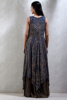Indigo Blue & Beige Printed Dress With Inner by Ritu Kumar