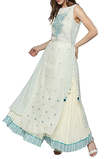 White & Blue Embroidered Printed Kurta With Skirt by Ritu Kumar