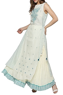 White & Blue Embroidered Printed Kurta With Sharara Pants by Ritu Kumar