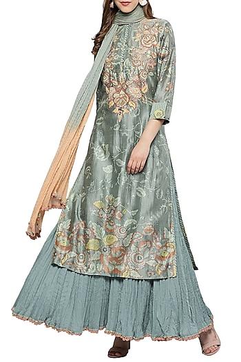 Green Floral Printed Sharara Set by Ritu Kumar