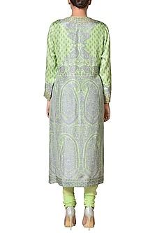 Lime Green Silk Kurta Set by Ritu Kumar