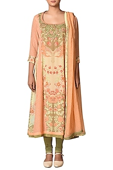Peach Printed Kurta Set by Ritu Kumar