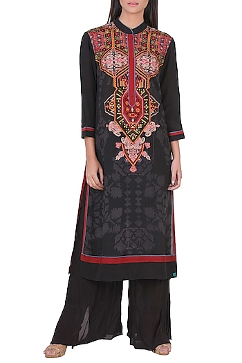 Black & Burgundy Embroidered Kurta With Pants by Ritu Kumar
