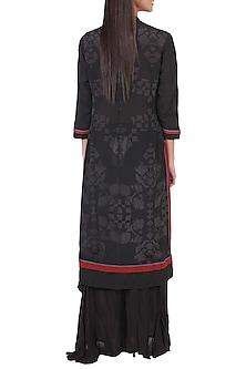 Black & Burgundy Embroidered Kurta With Pants by Ritu Kumar