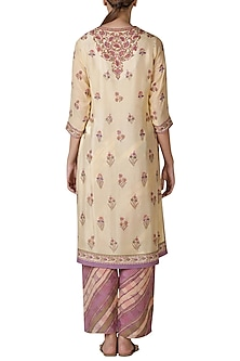 Beige & Mauve Embroidered Kurta Set by Ritu Kumar
