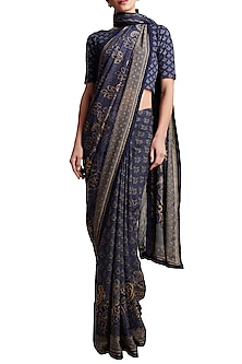 Blue Floral Printed Saree by Ritu Kumar