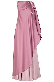 Mauve Embroidered Draped Kurta With Sharara Pants by Ruceru Couture