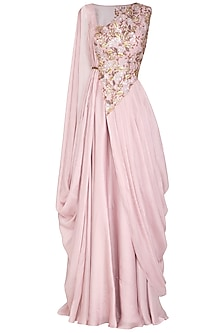 Lilac Embroidered Draped Kurta With Skirt by Ruceru Couture
