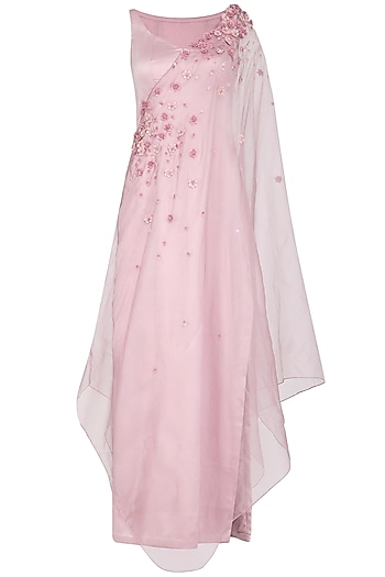 Lilac Embroidered Gown With One Sided Drape Dupatta by Ruceru Couture