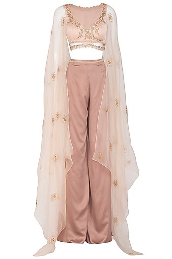 Nude Embroidered Sharara Set by Ruceru Couture